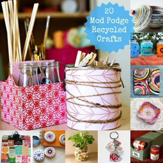 If you like using what you have on hand to make craft projects, then you'll love this roundup of 20 Mod Podge recycled crafts. Great budget ideas!