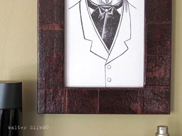 Faux Leather decoupage frame