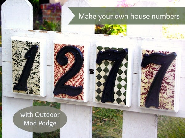 DIY House number sign project with Mod Podge