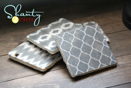 Graphic photo transfer coasters with Mod Podge
