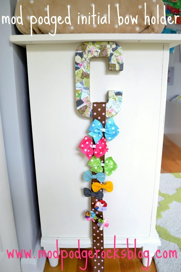Mod Podge initial DIY bow holder