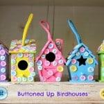 easy kids craft button birdhouses