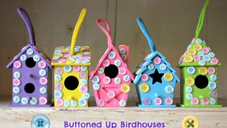 Buttoned Up Easy Birdhouse Craft for Kids
