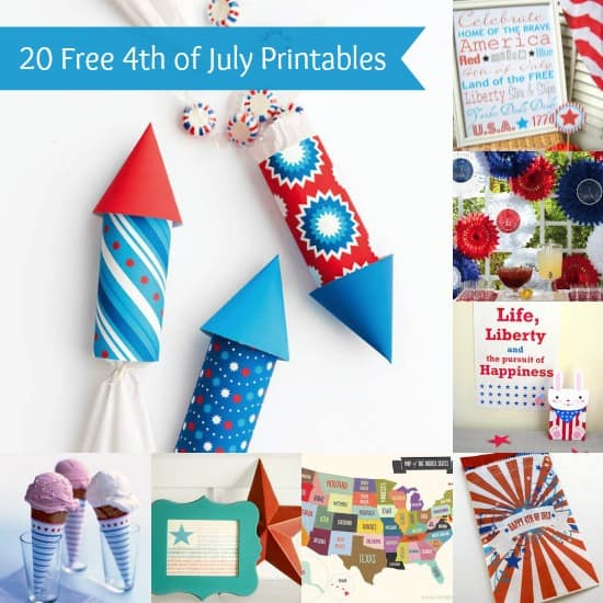 Celebrate Independence Day with some awesome home decor and party printables! Here are twenty 4th of July printables you'll love - and they are all free!