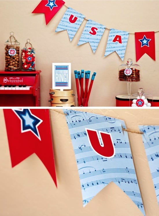 Free printable USA party banner for 4th of July
