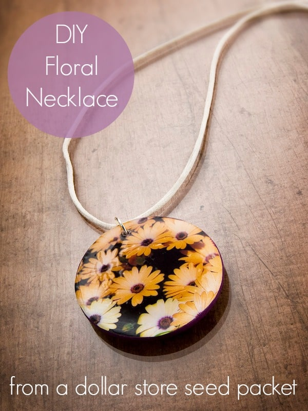 DIY floral necklace from a dollar store seed packet