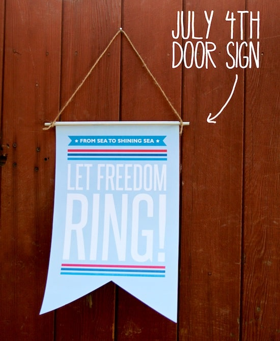 Let freedom ring July 4th door sign printable