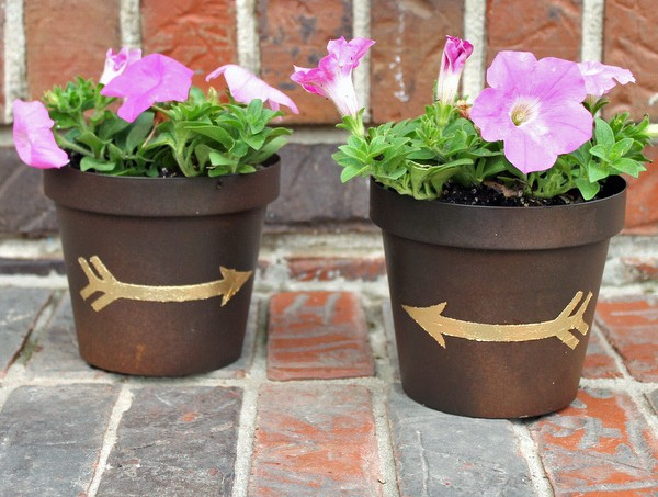 Gold leaf Mod Podge flower pots