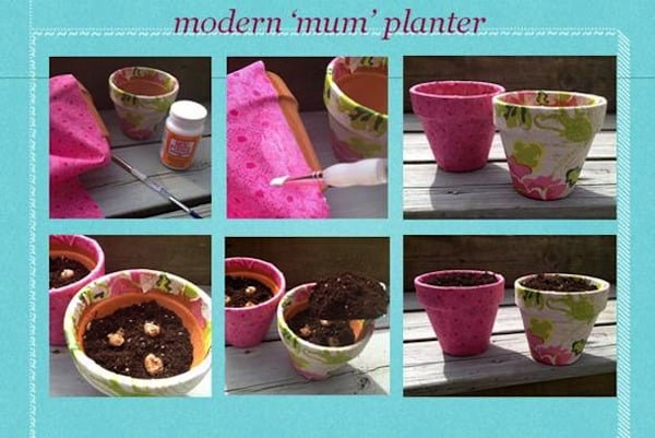 How to decorate clay pots with Mod Podge