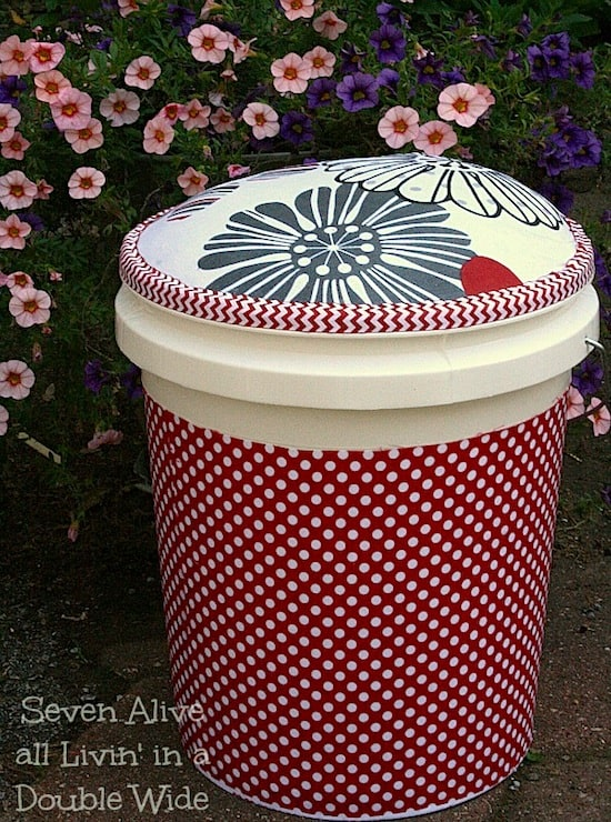 Mod Podge Fabric Covered Garden Bucket