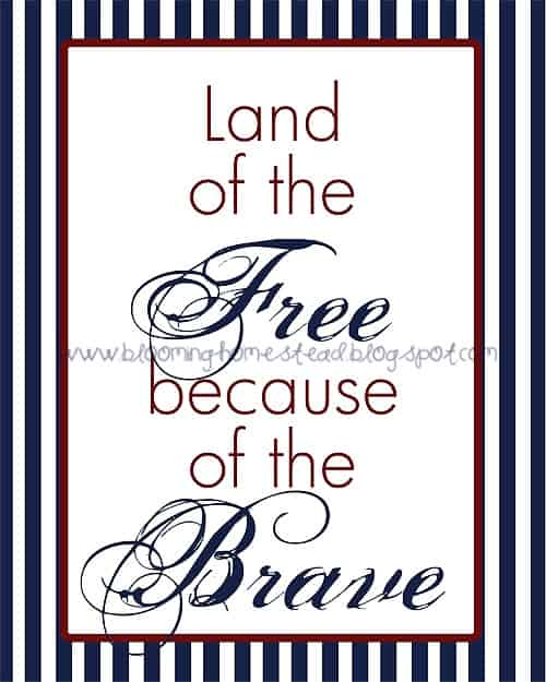 Land of the free because of the brave free printable