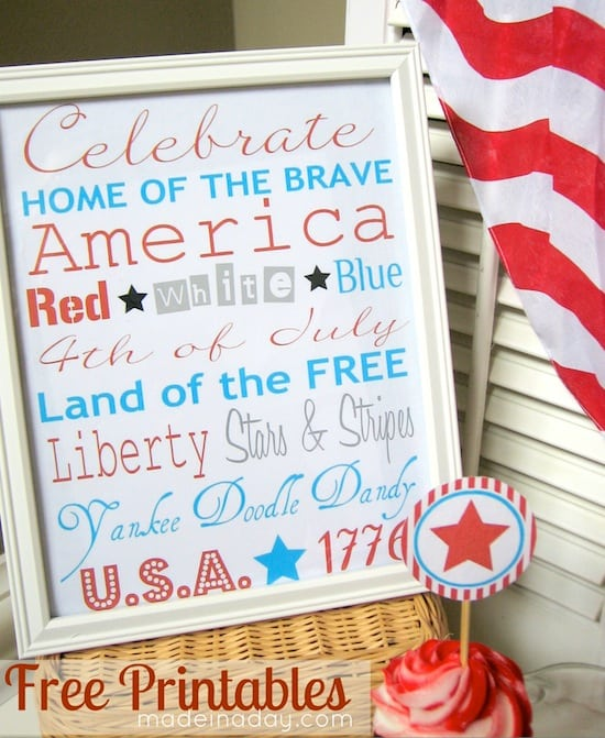 Fourth of July free printable subway art