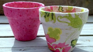 Easy Mod Podge Terra Cotta Pots with Fabric