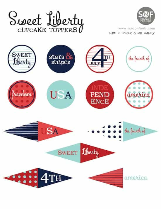Fourth of July free printable cupcake toppers