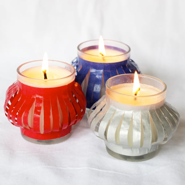 Easy DIY patriotic votives made with tissue paper and Mod Podge