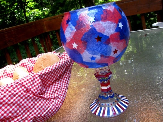 4th of July DIY glass table centerpiece