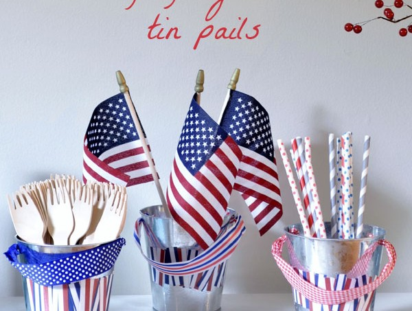 Fourth of July craft: embellished tin pails