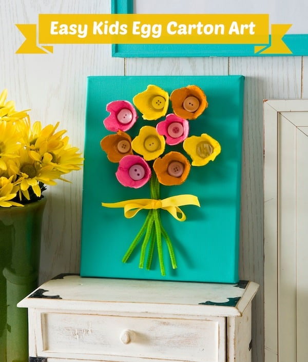 Egg carton button flower art