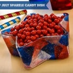Fourth of July craft: sparkle dollar store candy dish