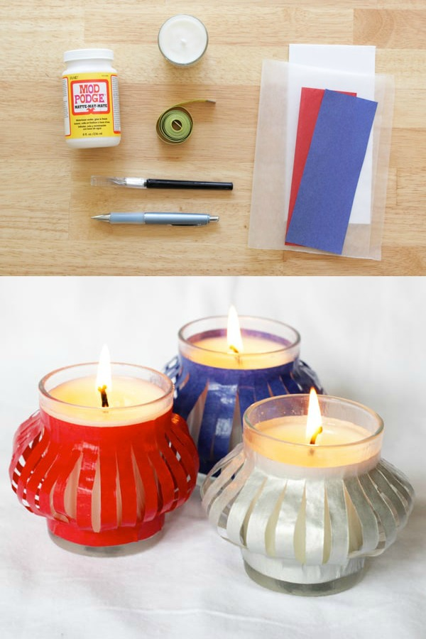 Are you looking for easy 4th of July decorations that are low on cost and big on style? These DIY patriotic votives are the perfect project! Use them for outdoor parties, porch, or table decor. Get the supplies from the dollar store. Kids will love to make these too!