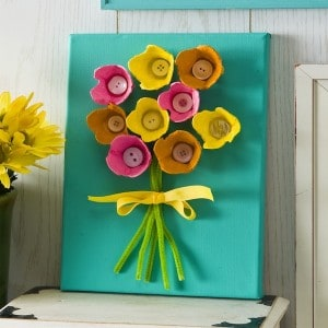 egg carton projects flower canvas
