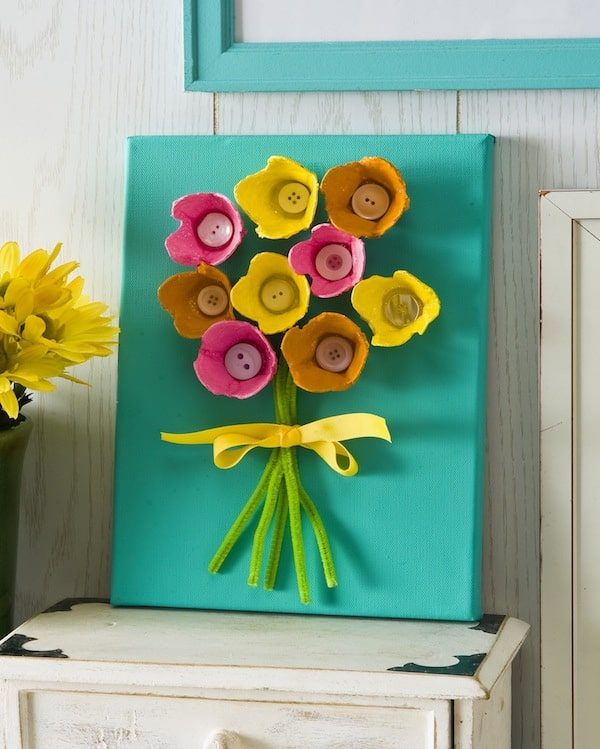 EASY Egg Carton Art on Canvas (for Kids)
