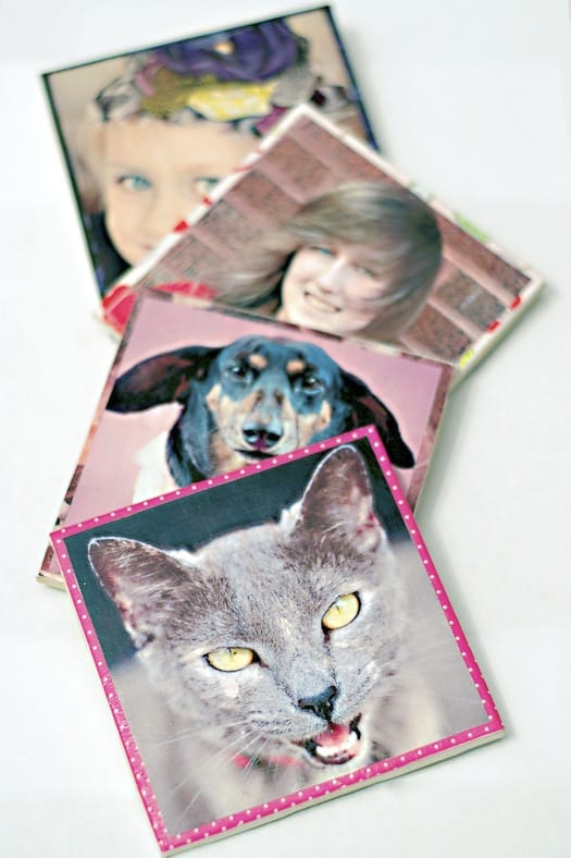 Mod Podge DIY photo coasters
