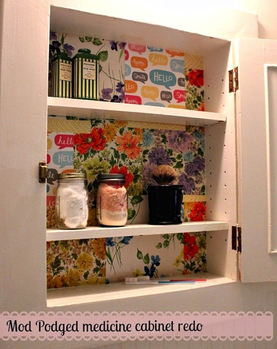 Mod Podge medicine cabinet re-do