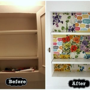 Mod Podge medicine cabinet redo - with scrap paper
