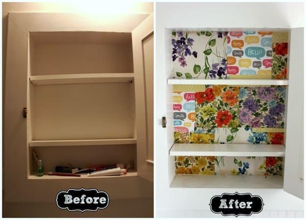 Mod Podge medicine cabinet redo - with scrap paper