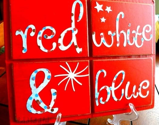 red white and blue Mod Podge plaque for 4th of July