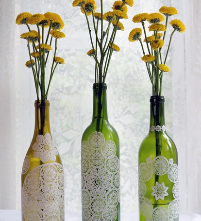 How to add paper doilies to bottles