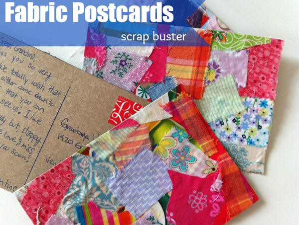 Fabric postcards from scraps