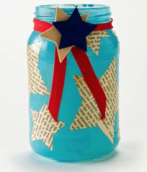 Fourth of July mason jar candleholder