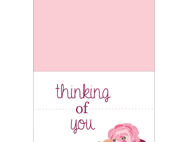 """Thinking of you"" card free printable"