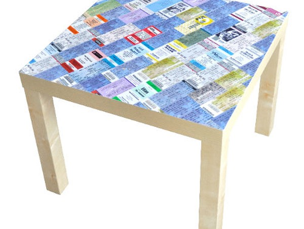 Memorable ticket table made with Mod Podge