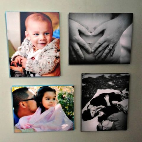 Use Mod Podge to decoupage your favorite family pictures on canvas. These DIY canvas pictures are a great budget way to decorate!