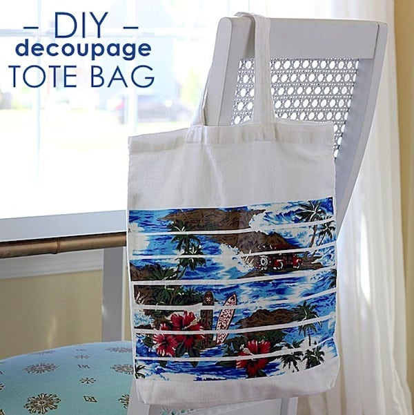 DIY decoupage beach tote bag
