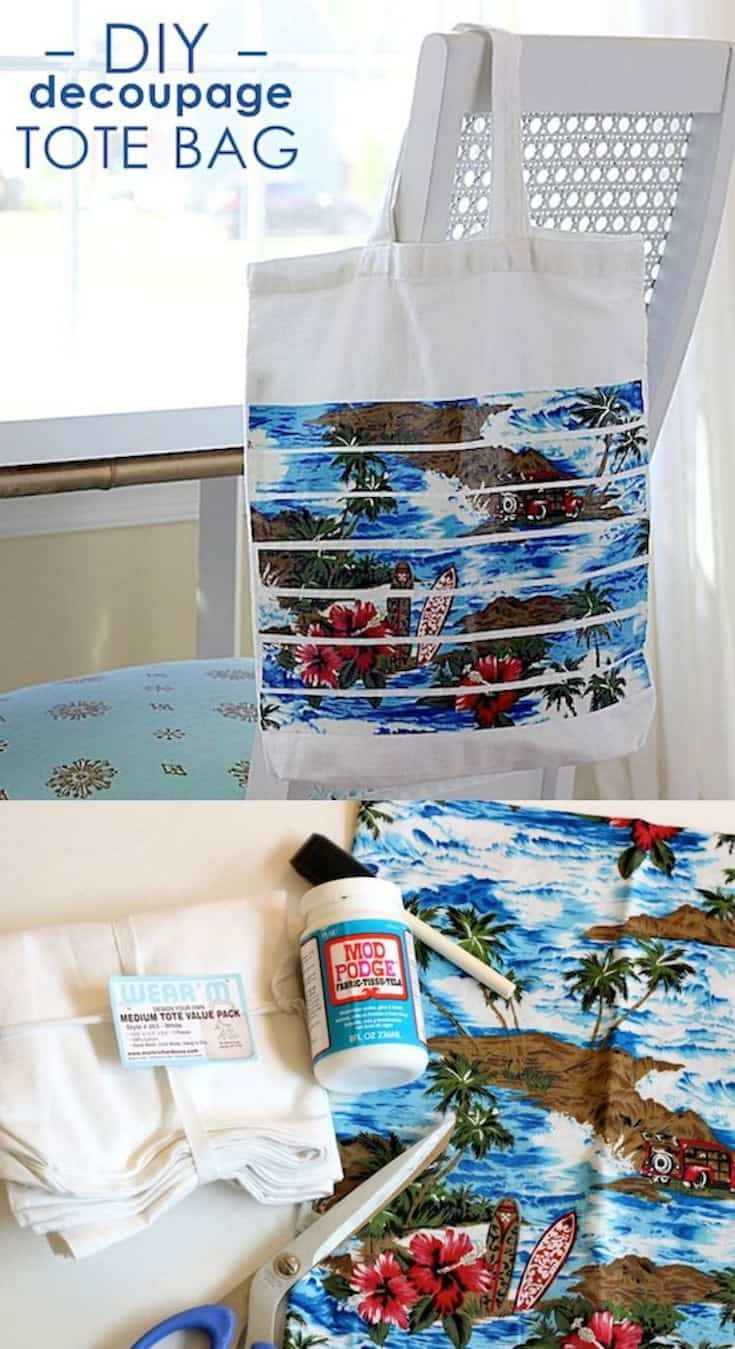You can decorate this decoupage bag with your favorite fabric! I made a fun DIY beach tote for my summertime pool trips. It's SO easy!
