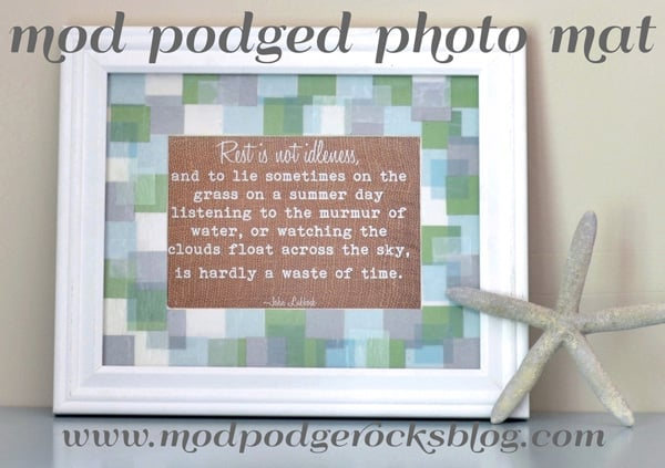 Mod Podged DIY photo mat
