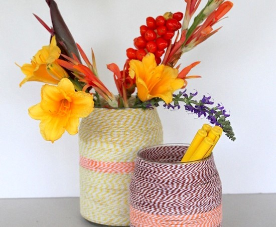 Easy twine wrapped DIY vases