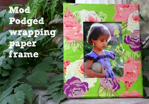Make a frame - using Mod Podge and wrapping paper