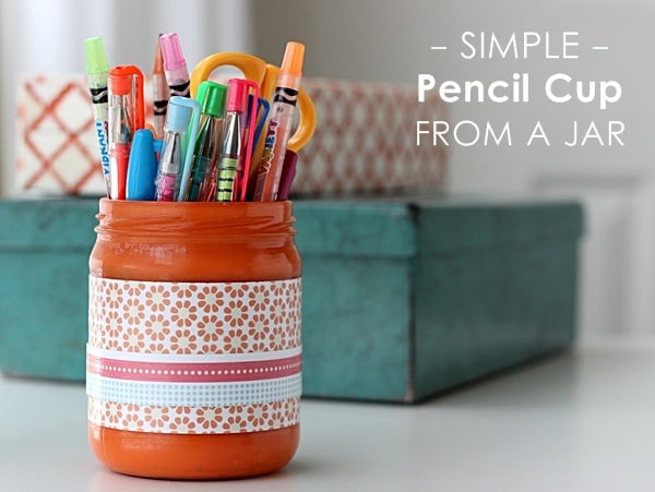 Simple pencil cup from a recycled jar