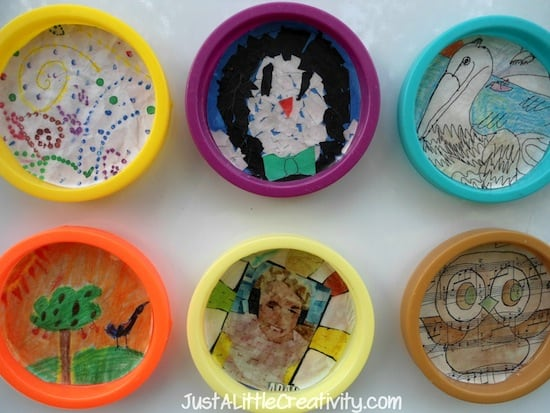 Simple kids crafts - turn lids into magnets