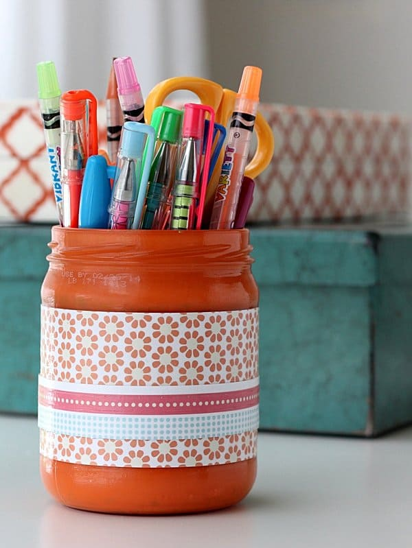 Pencil cup made from a recycled jar