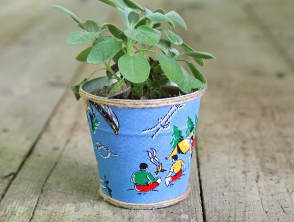 Cute custom pots made with fabric and Mod Podge