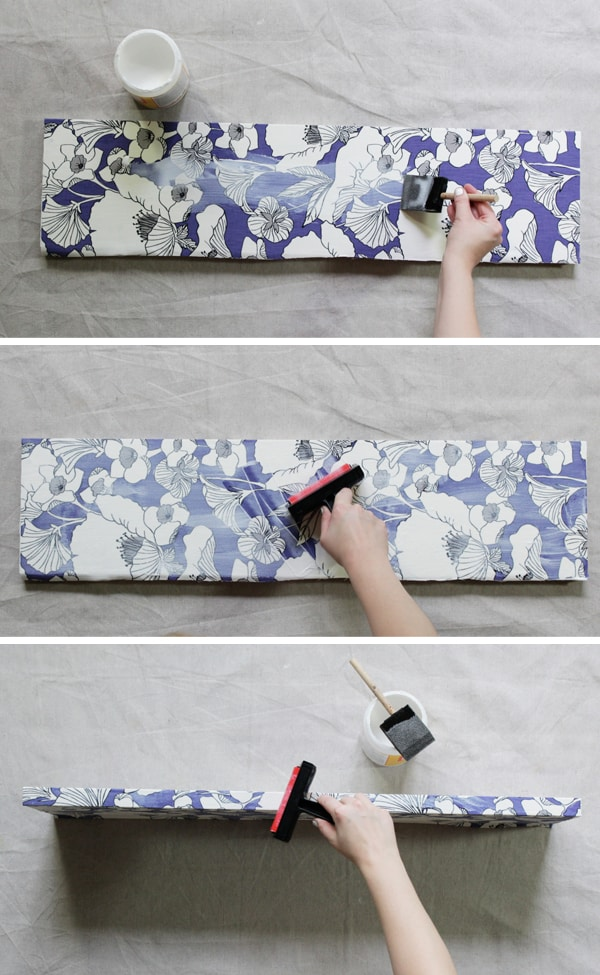 Decoupage Fabric Shelf