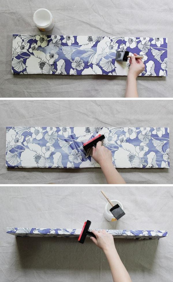 How to Decoupage Fabric Onto Shelves , Mod Podge Rocks