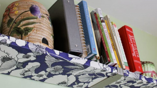 How to Decoupage Fabric Onto Shelves