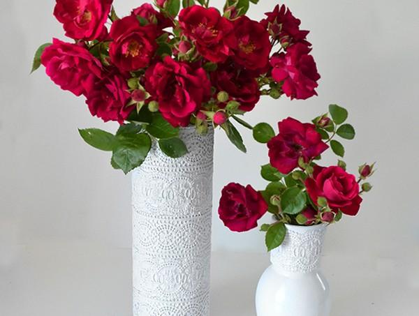 Decoupage a lace vase